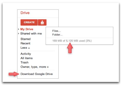 תפריט Google Drive